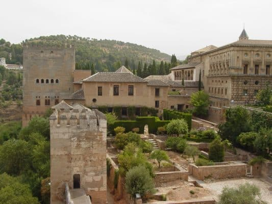 View from the Torre de la Vela of the Alcazaba looking back towards the Palacio Nazaries and the Palacio de Carlos V