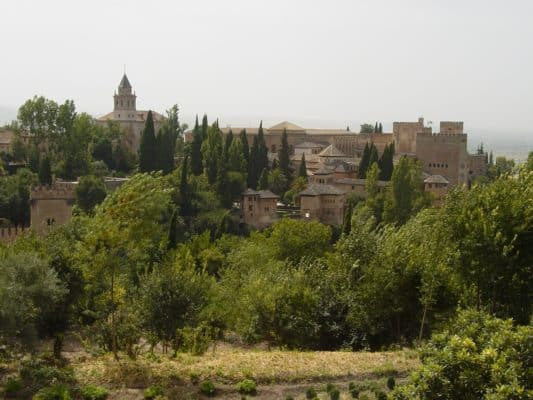 View of the Alhambra palace from the Summer Palace